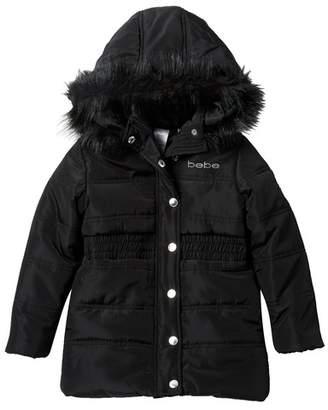 Bebe Long Puffer Coat with Faux Fur Trim (Big Girls)