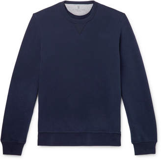 Brunello Cucinelli Fleece-Back Stretch-Cotton Jersey Sweatshirt - Men - Blue