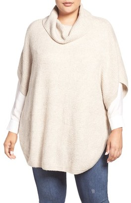Sejour Cowl Neck Poncho Style Sweater (Plus Size) $79 thestylecure.com