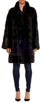 Maurizio Braschi Horizontal Mink Fur Stroller Coat w/ Leather Belt