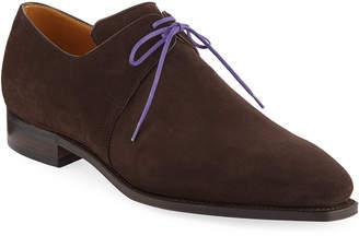 Arca Corthay Suede Lace-Up Shoe, Dark Brown