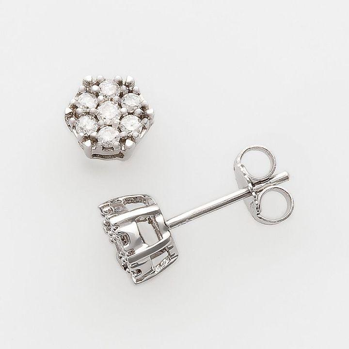 Sterling silver 1/4-ct. t.w. diamond floral stud earrings