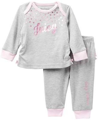 Juicy Couture Hearts Top & Ruffle Bottom Pants Set (Baby Girls)