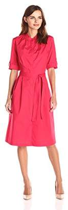 Lark & Ro Women's Elbow Sleeve Poplin Midi Shirt Dress