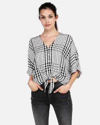 Express Tie Front Short Sleeve Top