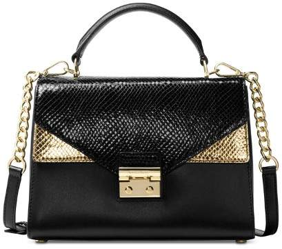Michael Kors MICHAEL Sloan Embossed Leather Top Handle Satchel - BLACK/GOLD - STYLE