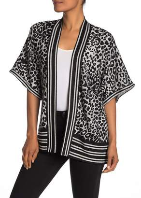 Bobeau Animal Print Short Sleeve Knit Cardigan