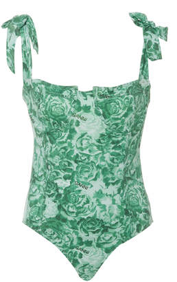 Ganni Recycled Fabric Floral Print One Piece Size: 32