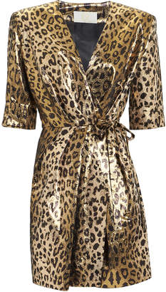 Sara Battaglia Leopard Lame Mini Dress
