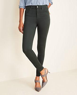 Ann Taylor Curvy Sateen High Rise Performance Stretch Skinny Jeans in Dark Tea Green