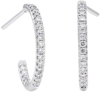De Beers White Gold and Diamond Micropavé Hoop Earrings