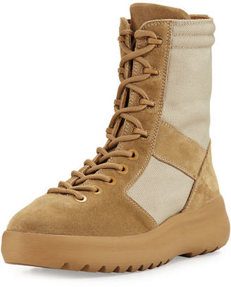 Yeezy Men's Leather & Textile Military Boot $645 thestylecure.com