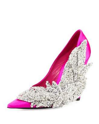 Balenciaga Crystal Satin 110mm Pump, Rose Fuchsia $2,850 thestylecure.com