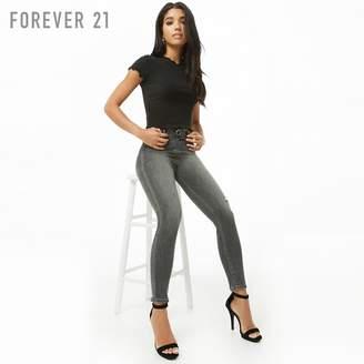 Forever 21 (フォーエバー 21) - Forever 21 Oリングジッパーダメージスキニージーンズ