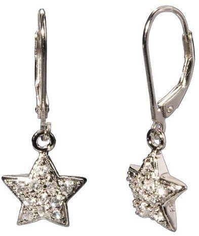Sterling Silver Rhodium Cubic Zirconia Star Dangle Earrings
