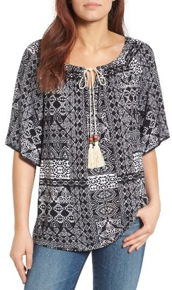 Women's Bobeau Beaded Tassel Peasant Top $42 thestylecure.com