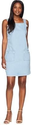 Vince Camuto Sleeveless Frayed Edge Two-Pocket Classic Denim Dress Women's Dress
