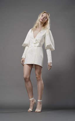 Elizabeth Fillmore Nico Silk Tuxedo Dress With Lantern Sleeve