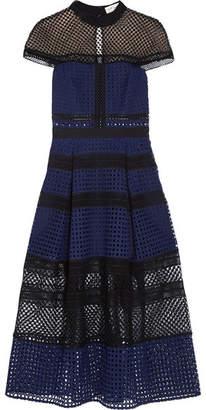 Self-Portrait - Paneled Guipure Lace Dress - Navy $615 thestylecure.com