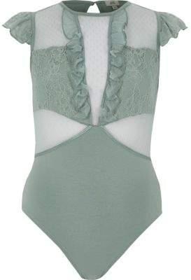 River Island Womens Green dobby mesh frill bodysuit