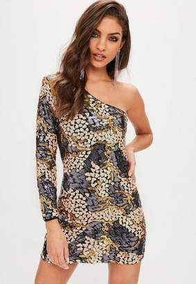 Missguided Petite Navy Sequin Camo Pattern One Shoulder Mini Dress