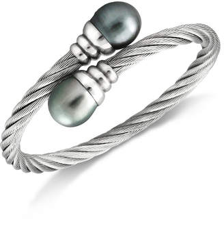 Macy's Tahitian Cultured Freshwater Pearl (10mm) Bangle Bracelet in Stainless Steel
