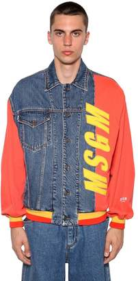 MSGM Logo Patch Gabardine & Denim Jacket