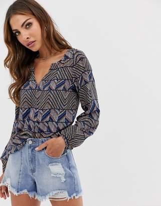 Esprit Aztec print V-neck blouse in blue