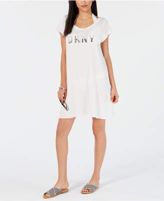 2a8092786e DKNY Logo T-Shirt Dress Cover-Up Women Swimsuit