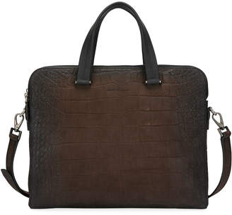 Salvatore Ferragamo Men's Firenze Animal Embossed Leather Briefcase