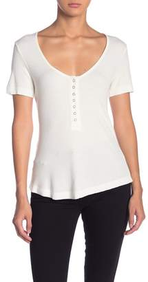 Socialite Ribbed Snap Front Button Tee