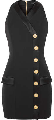 Balmain Button-detailed Satin-trimmed Grain De Poudre Wool Mini Dress - Black