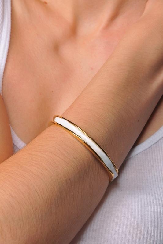 Allison Daniel Thin Enamel Bangle Bracelet in White