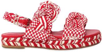 30mm Woven Cotton Platform Sandals