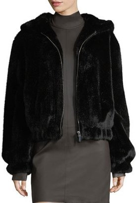 Helmut Lang Hooded Faux-Fur Bomber Jacket $695 thestylecure.com