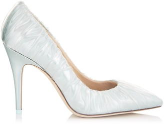 Jimmy Choo ANNE 100 Light Blue Satin Chisel Toe Pumps with Ruched TPU