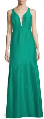 Halston Women's V-Neck Sleeveless Ball Gown