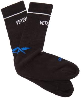 Vetements X Reebok Cotton Blend Split Toe Socks - Womens - Black Multi