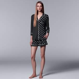 Vera Wang Women's Simply Vera Shirt & Boxer Shorts Set