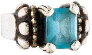 Lagos Two-Tone Blue Topaz Caviar Ring