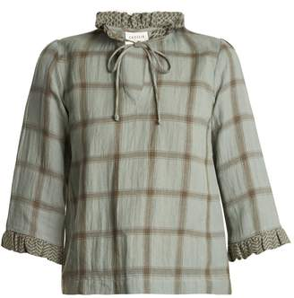 DAY Birger et Mikkelsen CECILIE COPENHAGEN Tie-neck cotton and linen-blend checked top