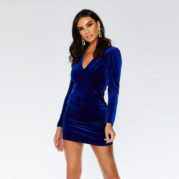Towie Royal Blue Velvet Bodycon Dress