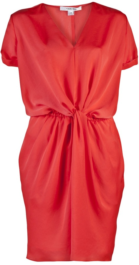 Carven SATIN DRAPE DRESS