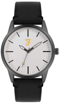 Farah Men the Classic Collection Black Leather Strap Watch 42mm