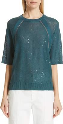 Brunello Cucinelli Sequin & Monili Embellished Linen & Silk Sweater
