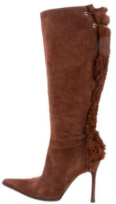 Cesare Paciotti Fur-Trimmed Knee-High Boots