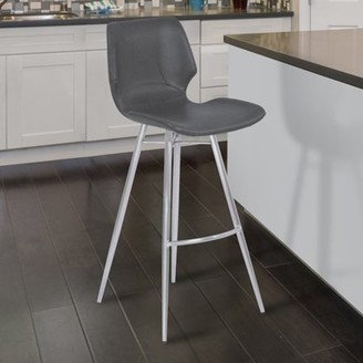 Armen Living Zurich Metal Barstool in Vintage Gray Faux Leather with Brushed Stainless Steel Finish
