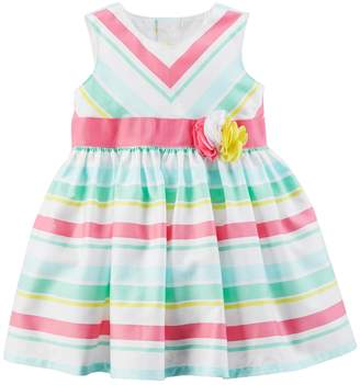 Carter's Baby Girl Multi-Colored Pastel Striped Dress