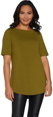 Joan Rivers Classics Collection Joan Rivers Jersey Knit Long Tee Shirt with Shirt Tail Hem