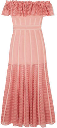 Alexander McQueen Ruffled Off-the-shoulder Mesh-paneled Knitted Dress - Blush